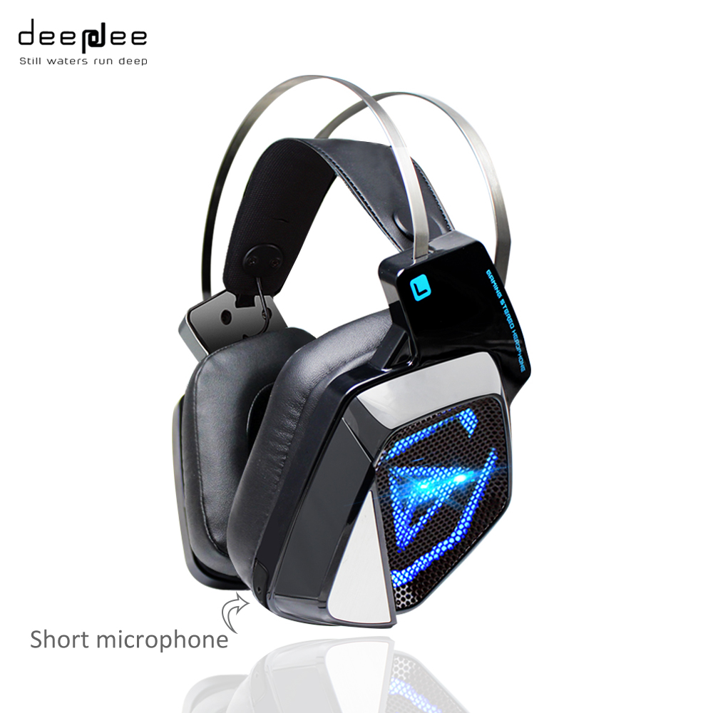 DEEPDEE Big Gaming Headphones With Microphone LED Lights For Computer Xiaomi Mobilephone Headset Stereo Sound Noise Cancelling deepdee gaming headset stereo headphones with microphone for xiaomi internet computer gamer noise canceling music bass headband