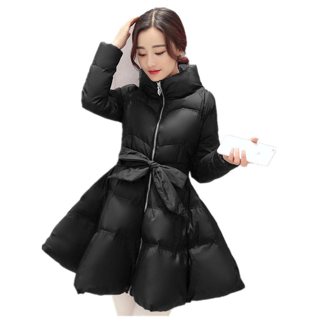 2016 New Bow Waist Fluffy Skirt Warm Coat Jacket Parkas For Women Winter Women Down Parkas