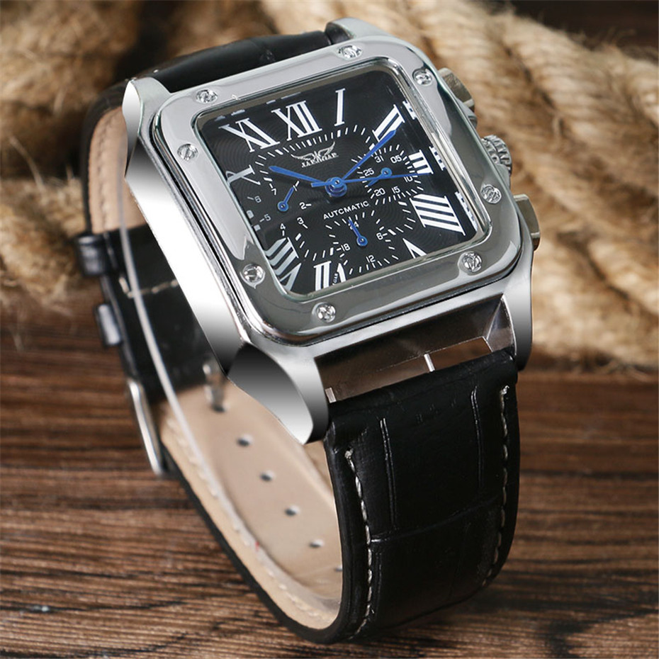 JARAGAR Mechanical Watches Men Fashion Genuine Leather Wrist Watch Automatic Date Day Display Watches Mens Clock with Gift Box (14)