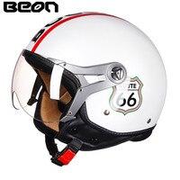 BEON Motorcycle Scooter Helmet 3/4 Open Face Vintage Helmet Moto Casque Casco motocicleta Capacete 10051 Vespa Unisex helmets