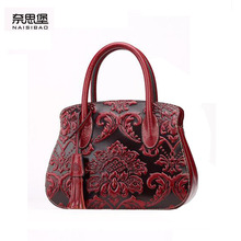 2016 New women genuine leather bag fashion top quality cowhide embossing retro women leather handbags shoulder bag