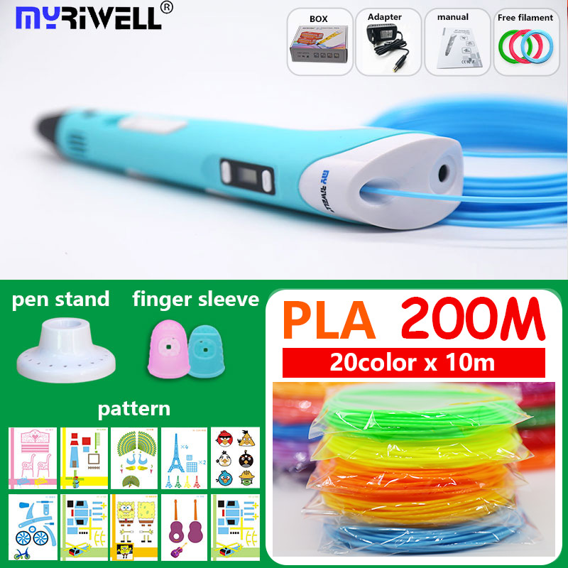100% Original 3D Pen 3 d pen 3d with PLA 200M 1.75mm Filament No smell saftly filament plastic the best Christmas gift 3D Handle(China)