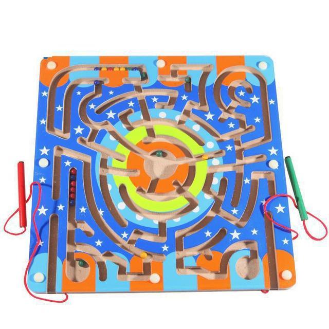 BOHS Estrelas Anel com Dois Caneta Magnética Labirinto De Madeira, Diversão em família, jogo para Os Pais e Criança