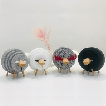 Sheep Shape Anti Slip Drink Coasters Insulated Round Felt Cup Mats Japan Style Creative Home/Office Decor Nordic Style Gift