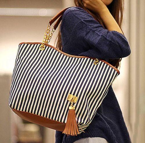 Women's Handbags Striped Canvas Tote Shoulder Bag Chain Handbag Shoulder Bag Satchel Totes Sac