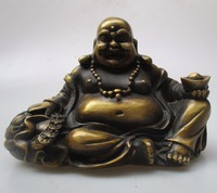High 16 CM Collectible Chinese Old Bronze Carved Laughing Buddha Sculpture Antique Buddha Statue
