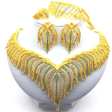 2019 Fashion jewelry set Nigeria Dubai gold-color Necklace Earrings Wedding African Beads Jewelry Set 2015 new fashion dubai gold plated jewelry set africa nigeria s wedding beads jewelry plating 18 k retro design
