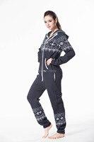 jumpsuit Printed onesie hoodie fleece cotton zip nordic way romper cosy playsuit women clothes