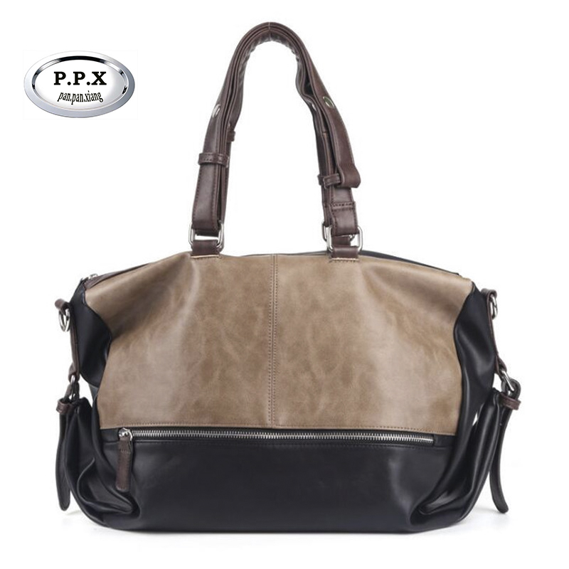 Waterproof Duffle Bags >> Us 28 9 45 Off New Fashion Leather Mens Travel Bags Large Capacity Waterproof Duffle Bag Vintage Hand Luggage Shoulder Bag P466 In Travel Bags From