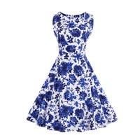 2017 Vintage Femmes Robe Imprimer Bleu et Blanc Porcelaine Robe Rockabilly D'été Feminino Robes Hepburn 50 s 60 s rétro robes