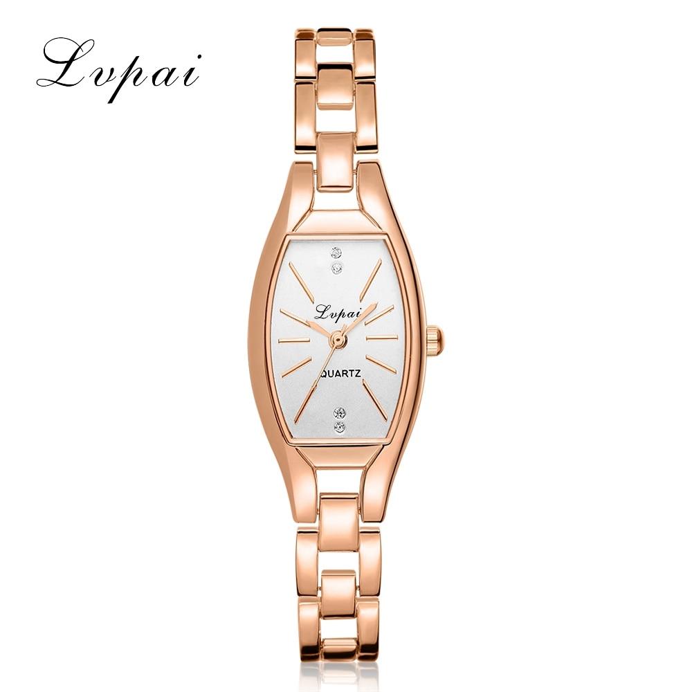 2017 חדש Lvpai המותג יוקרה רוז זהב קוורץ-שעונים נשים צמיד אופנה שעונים גבירותיי פשוט לבוש עסקים LP104