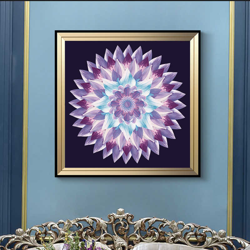 Modern Abstract Flower Posters and Prints Wall Art Canvas Painting Gradient Mandala Decorative Pictures for Living Room Decor