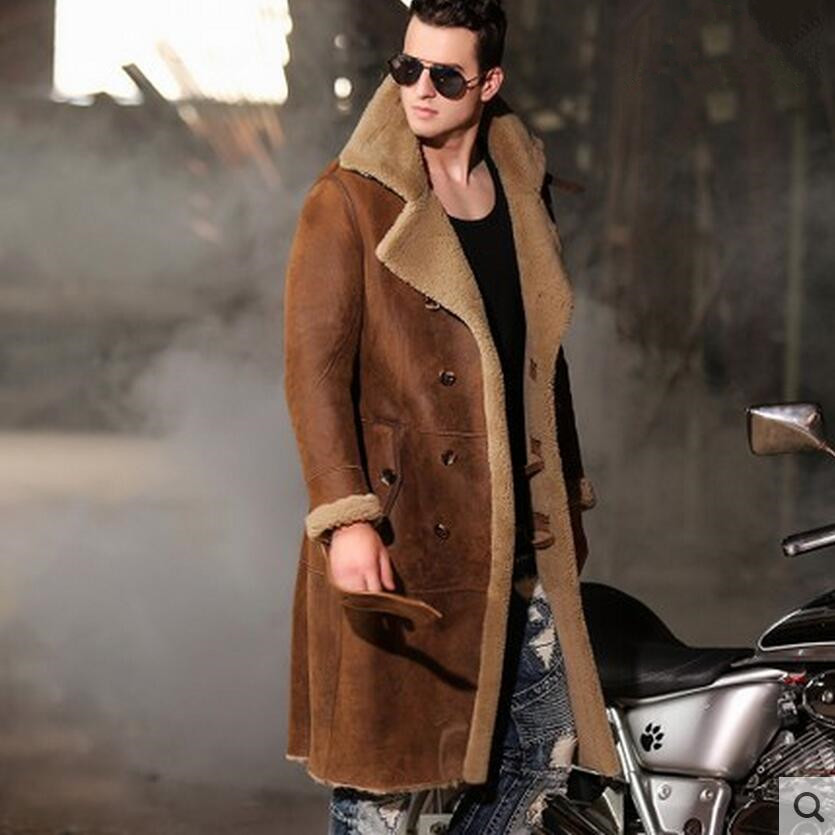 Men's Winter Thermal Outerwear Men Super Long Sheepskin Shearling Parkas Men Genuine Leather Coat 9967(China)