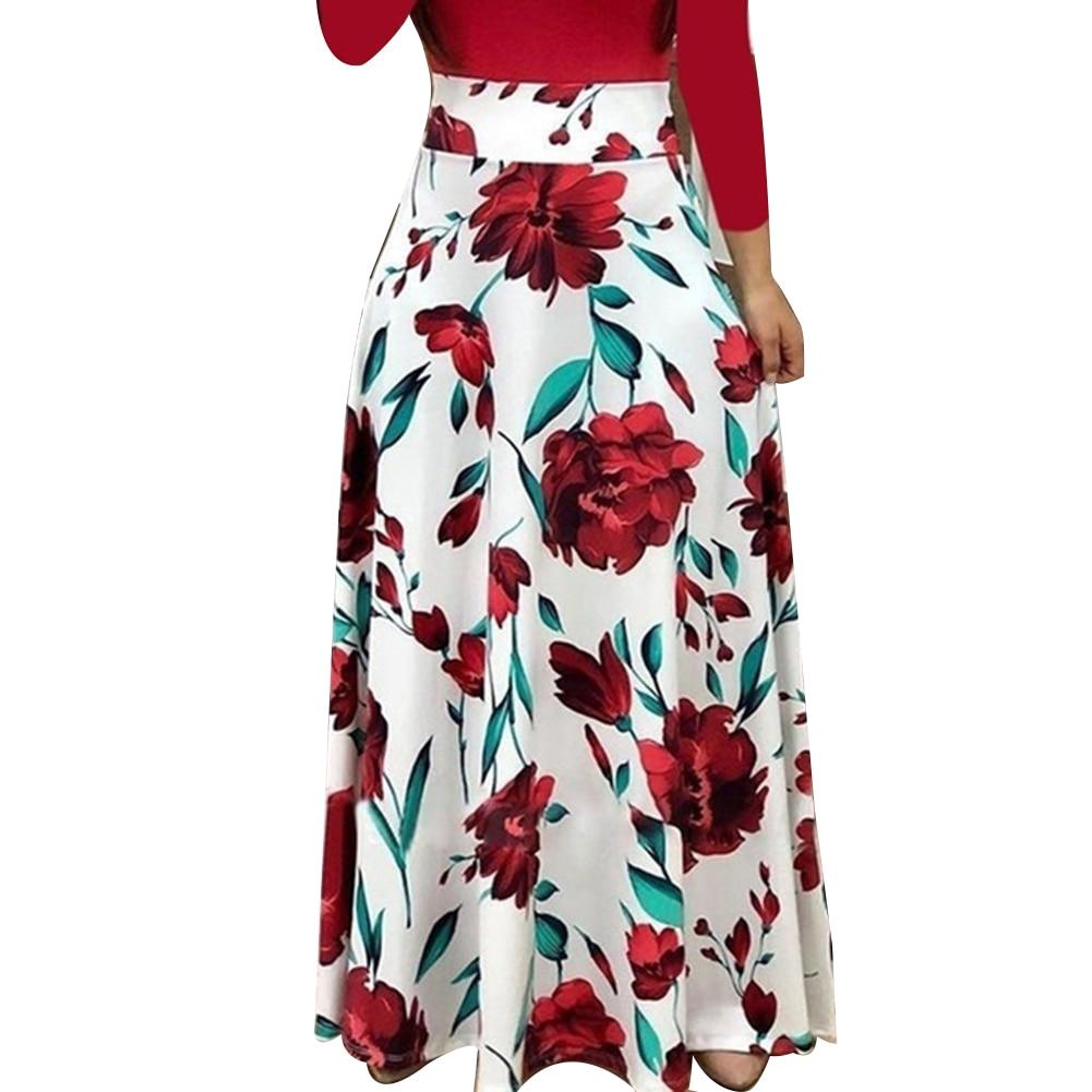 HTB1 8vYXYj1gK0jSZFOq6A7GpXay New Summer Flower Dot Print Color Matching Long Sleeve High Waist Women Maxi Dress