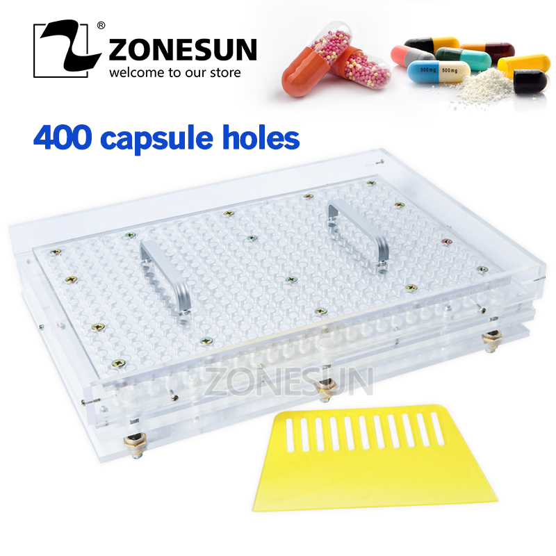 ZONESUN 400 Holes Manual Capsule Filling Machine #00 #0 #1 #2 Pharmaceutical Capsules Maker for DIY medicine Herbal pill powde applicatori di etichette manuali