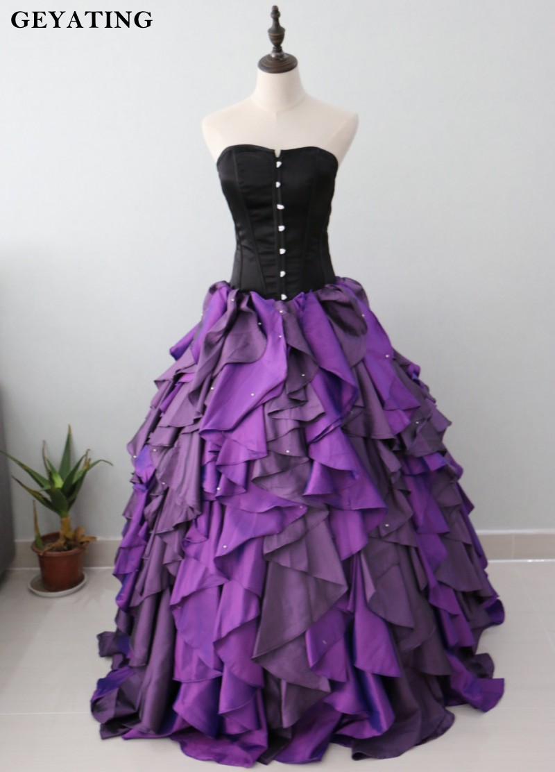 Purple and black organza taffeta ball gown gothic wedding for Victorian corset wedding dresses