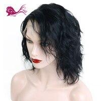 EAYON волосы полный кружево натуральные волосы свободная волна короткий Боб Искусственные парики для черный для женщин волосы remy отбеленные