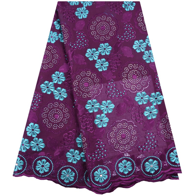 Purple Dubai Swiss Voile Cotton Lace Fabric Simple African Swiss voile lace in Switzerland High Quality