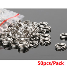 50pcs Split Rings Fishing Double Crank Connector Lures Hard For Carp Fishing Artificial Bait Lure Accessories(China)