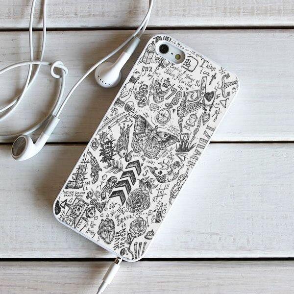 Harry estilos de tatuaje de uma direção estilo branco capa dura para o iphone se 4 4S 5 5S 5c 6s mais 7 7 mais x 8 mais