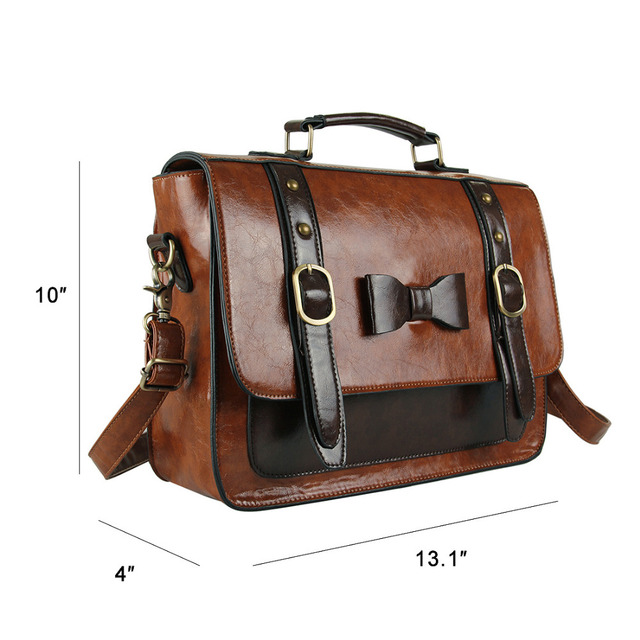 ECOSUSI New Leather Handbag Vintage Women Messenger Bag Crossbody Satchel Briefcase Bowknot Bolsas Femininas Messenger Bags