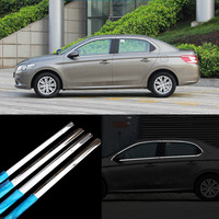 10pcs Stainless Steel Door Window Frame Sill Molding Trim For Peugeot 301