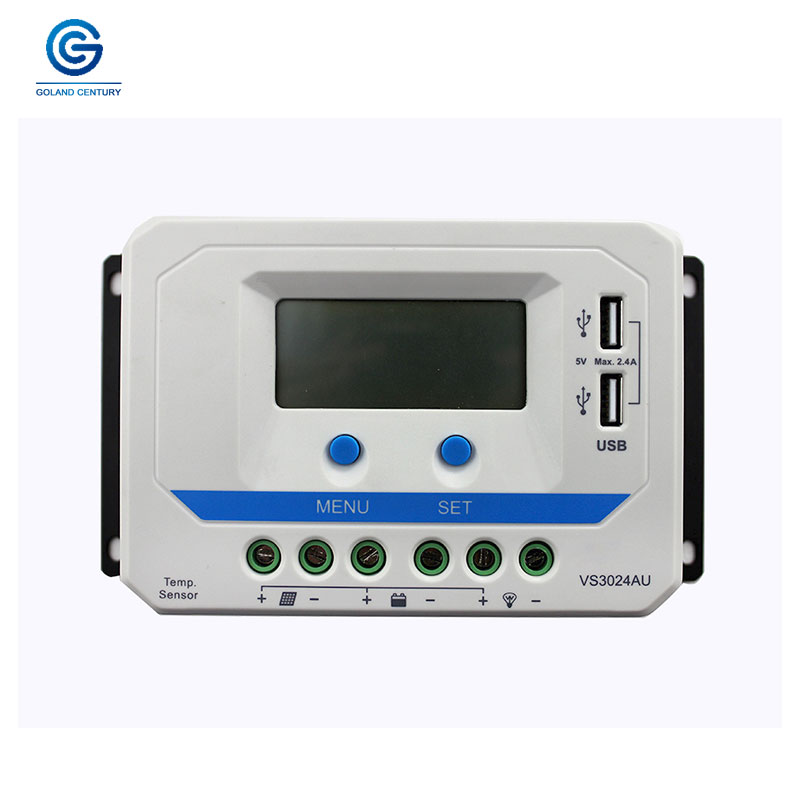 12V 24V Voltage Manual PWM 30A AMP Solar Panel Charge Regulator Smart Home Two USB Controller VS3024AU For Home Solar System12V 24V Voltage Manual PWM 30A AMP Solar Panel Charge Regulator Smart Home Two USB Controller VS3024AU For Home Solar System