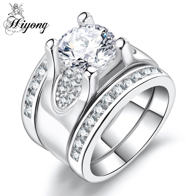 HIYONG Super Wide Band Ring Set Clear Cubic Zirconia 3pcs ...