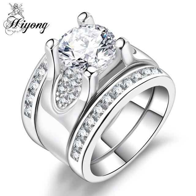 HIYONG Super Wide Band Ring Set Clear Cubic Zirconia 3pcs ...