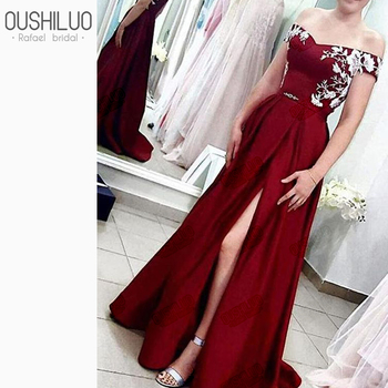 Elegant A Line Burgundy Prom Dresses With Applique 2019 Off the Shoulder Side Split Long Formal Evening Dress Gown For Women
