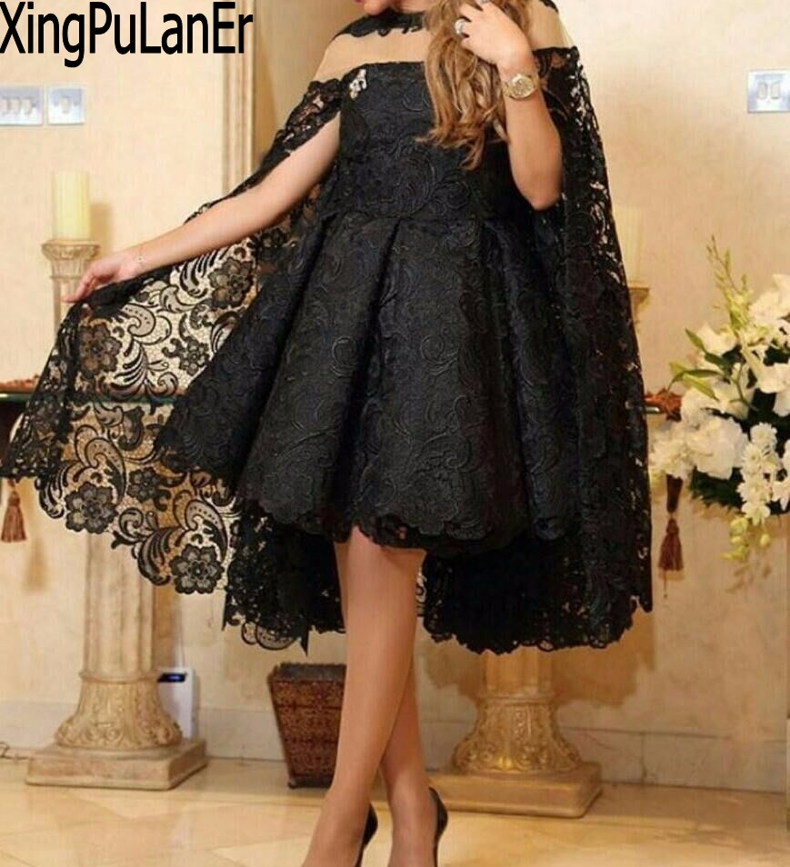 XingPuLanEr 2019 Designer personnalisé dentelle noir court grande taille arabie saoudite robe de bal courte soirée robe de soirée