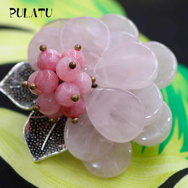 Pulatu Alami Batu Bros Pink Hijau Bunga Busana Bros Pin Antik Perak Daun Inlay Karang Alami Wanita Bros Party