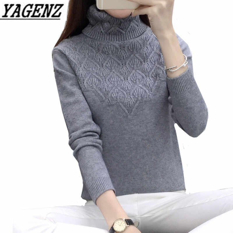 2018 nuevo Otoño Invierno suéteres de cuello alto ropa de mujer coreano de manga larga Delgado elástico suéter de punto cálido señoras Casual Tops