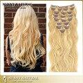 """100% malásia onda virgem Remy clipes em extensões de cabelo humano 10 """" - 28 """" 14 cores para escolher"""