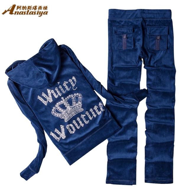 Autumn Winter Women sets 2016 Fashion Inlaid Rhinestone Sequin 2 Piece Set Sportswear Tracksuits Long Sleeve Sweatshirt + Pants