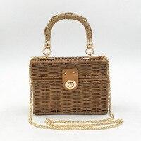 REREKAXI Hand woven Wicker Women's Shoulder Bags Bohemian Female Messenger Bag Rattan Straw Beach Bag Small Box Handbag Totes