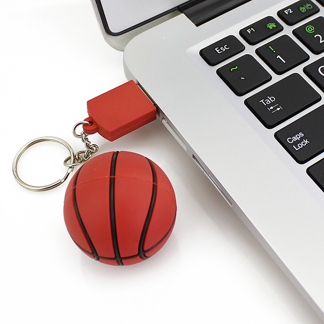 Basquete USB Pendrive Vara 64 GB 32 GB 16 GB 8 GB do Basquetebol Dos Desenhos Animados Modelo USB 2.0 Flash Memory Pen Drive 100% da Capacidade Total