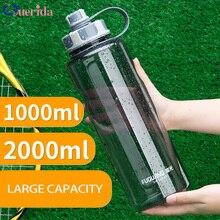 2000ml Large Capacity Water Bottles Portable Outdoor Plastic Sports Bottle With Tea Infuser Fitness Leak proof Shaker Bottles