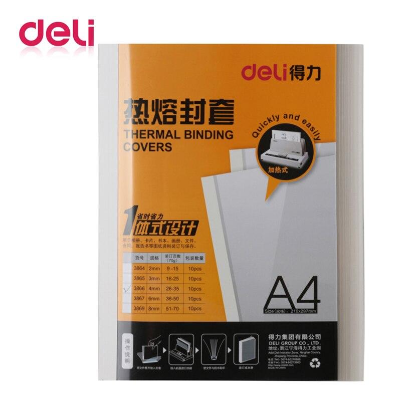 Deli 10PCS/pack Thermal Binding Cover A4 Glue Binding