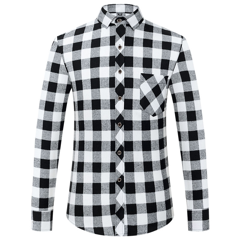 Men's Stylish Long Sleeve Plaid Checked Brushed Dress Shirt with Chest Pocket Standard-fit Comfortable Casual Flannel Shirts 6