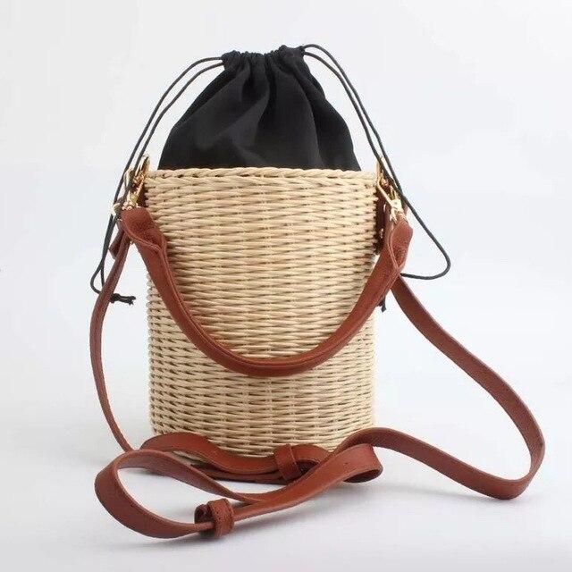 Ladies Del Mimbre Y Estilo Bag Corea A Bolso Bucket Hecho de Japón wBgqOY