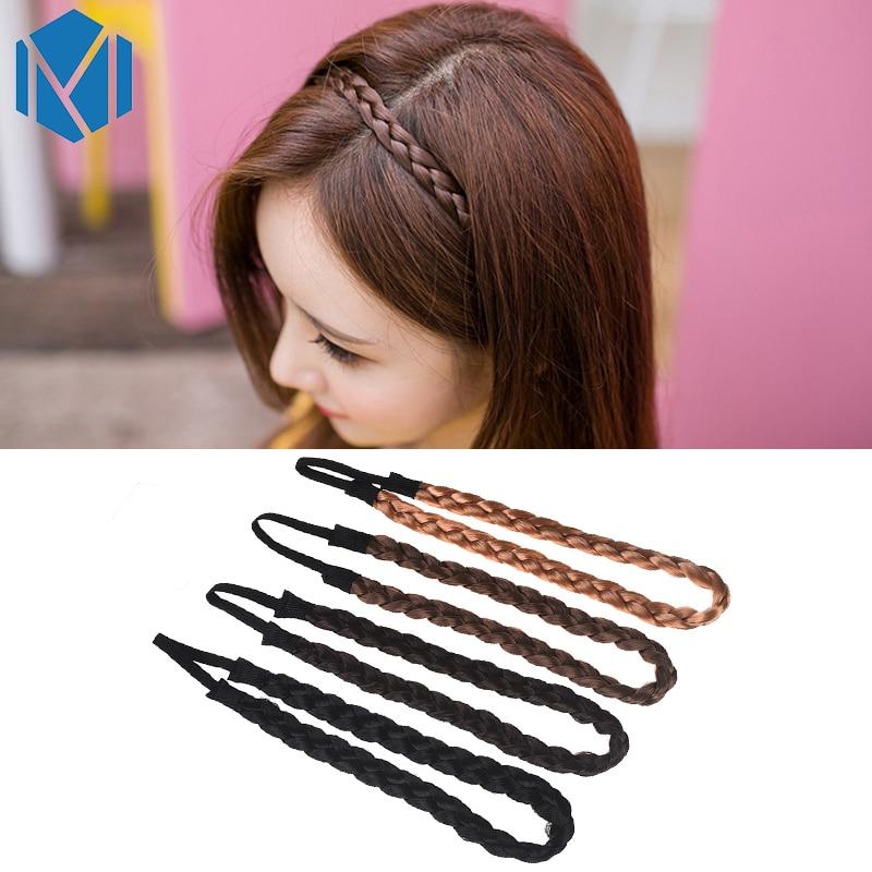 M MISM 24cm length Wig Braid Hair Bands Fashion Woman Hair Accessories Rope Synthetic Elastic Headband Korean Style Headwear