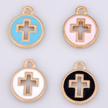 10pcs lot 15*11mm Metal Enamel Crosses charm round pendants circle alloy ornaments jewelry accessories handmade material for DIY(China)