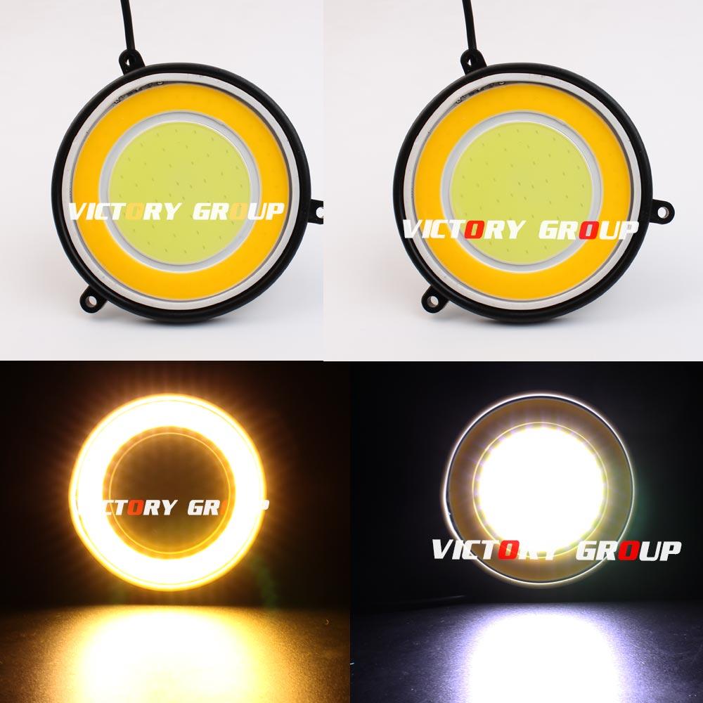 2 pcs Ronde 12 v LED DRL COB DRL Ronde 30 w diamètre 90mm Car Auto Lumière Feux de jour lumière Blanc DRL + Jaune Turing Lumière