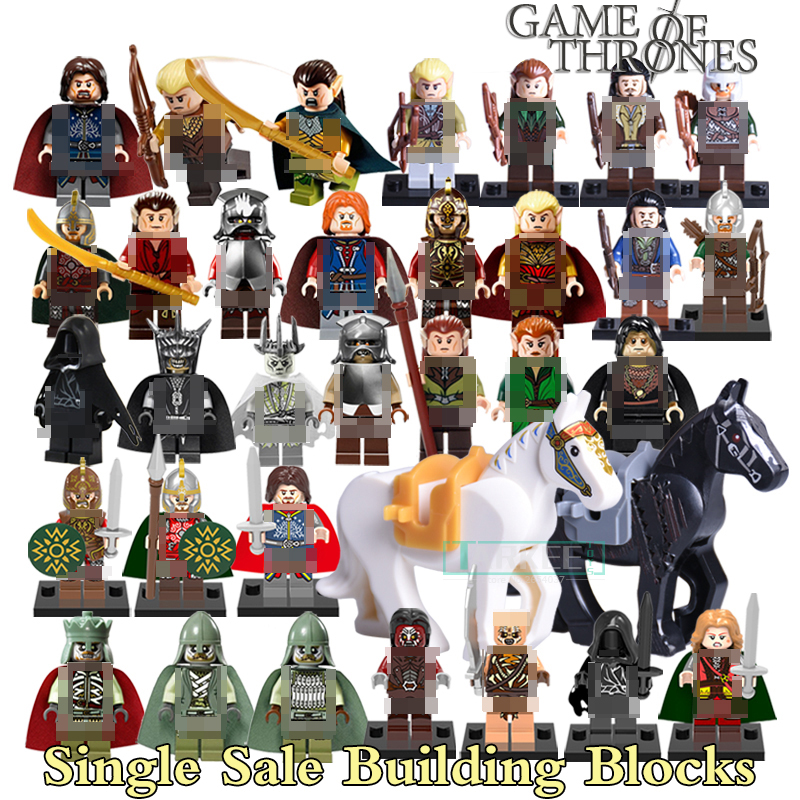 1pc Building Blocks Hobbit Uruk Hai King Theoden Aragorn Wraith The Lord of the Rings Figures Models Bricks Kids DIY Toys Horse lord of the rings pg518 witch king of angmar the black gate diy figures building blocks bricks kids diy toys hobbies single sale