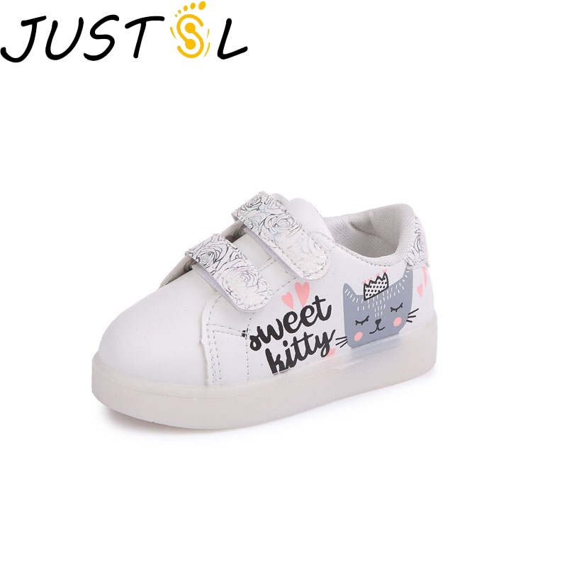 JUSTSL 2018 Spring New LED Childrens Hook & Loop Shoes Boy Lighted Sports Shoes Gilr Breathable Casual Shoes