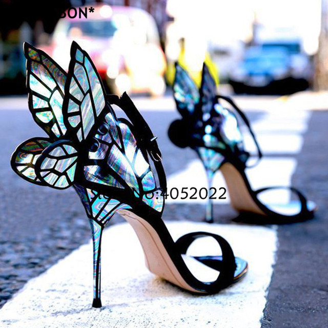 YUE JABON Gorgeous Colorful Butterfly Stiletto High Heels Sandals Open Toe Sexy Fashion Pumps Shoes Angel Wings Summer Shoes