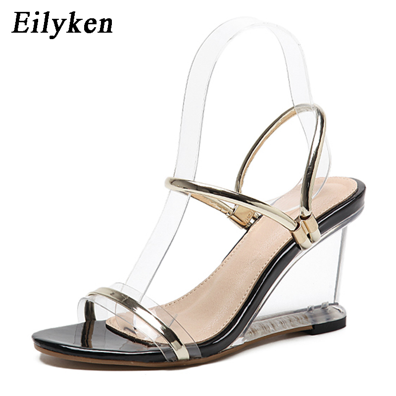 Eilyken 2019 Summer New Women Transparent Crystal Sandals Wedges Glass Sexy High heels 9cm Gladiator Sandals size 35-40Eilyken 2019 Summer New Women Transparent Crystal Sandals Wedges Glass Sexy High heels 9cm Gladiator Sandals size 35-40
