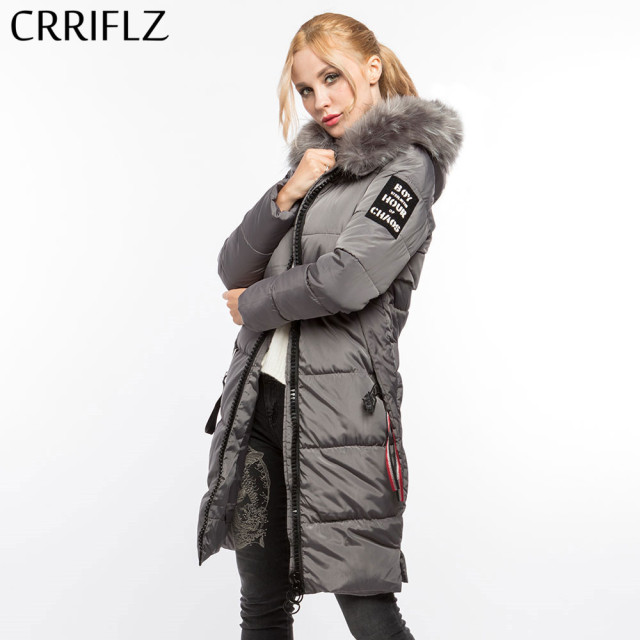7acd8f2492ddc ... пальто парки длинные CRRIFLZ Зимняя колл. Fashionable Winter Jacket  Women Fur Thick Slim Female Jacket Winter Women Hooded Coat Parkas Long  CRRIFLZ