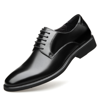 2019 New Men's Quality Genuine Leather Shoes Size 37-44 Black Soft Business Man Top Leather Shoes